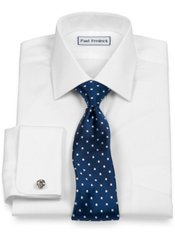 Luxury Cotton Windsor Spread Collar French Cuff Trim Fit Dress Shirt