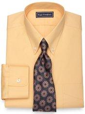 2-Ply Cotton Pinpoint Button Down Collar Button Cuff Trim Fit Dress Shirt