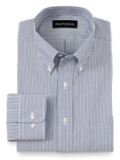 2-Ply Cotton Pinpoint Button Down Collar Button Cuff Trim Fit Dress Shirt