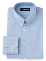 Cotton Pinpoint Oxford Snap Tab Collar Trim Fit Dress Shirt