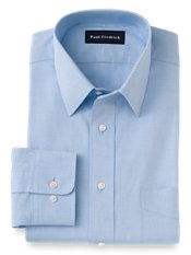 Cotton Pinpoint Oxford Straight Collar Trim Fit Dress Shirt