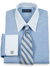 Cotton Pinpoint Oxford Straight Collar French Cuff Trim Fit Dress Shirt