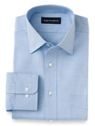 Trim Fit Pinpoint Oxford Windsor Spread Collar Button Cuff Dress Shirt