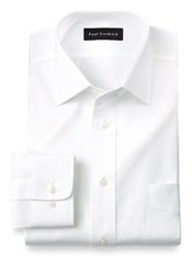 Cotton Pinpoint Oxford Windsor Spread Collar Trim Fit Dress Shirt
