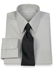 2-Ply Cotton Edge-Stitched Straight Collar Trim Fit Dress Shirt