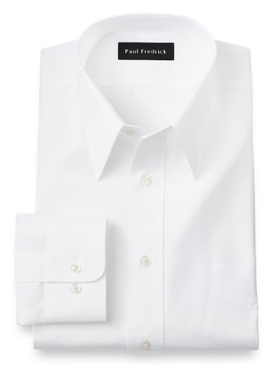 2 ply cotton edge stitched straight collar trim fit dress Straight collar dress shirt