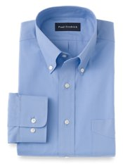 2-Ply Cotton Broadcloth Button Down Collar Button Cuff Trim Fit Dress Shirt