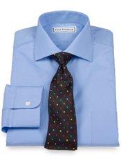 2-Ply Cotton Cutaway Collar Button Cuff Trim Fit Dress Shirt