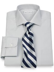 2-Ply Cotton Cutaway Collar Button Cuff Trim Fit Dress Shirt
