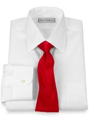 Non-Iron 2-ply 100% Cotton Pinpoint Oxford Spread Collar Trim Fit Dress Shirt