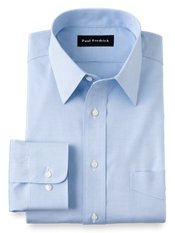 Non-Iron 2-ply 100% Cotton Pinpoint Straight Collar Trim Fit Dress Shirt