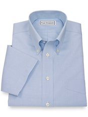 T/f Non-iron Pinpoint Oxford Button Down Short Sleeve Dress Shirt