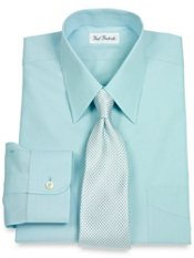 Non-Iron 2-ply 100% Cotton Straight Collar Trim Fit Dress Shirt