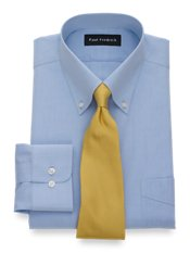 Non-Iron 2-Ply 100% Cotton Broadcloth Button Down Trim Fit Dress Shirt