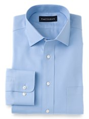 Non-Iron 2-Ply 100% Cotton Twill Spread Collar Trim Fit Dress Shirt