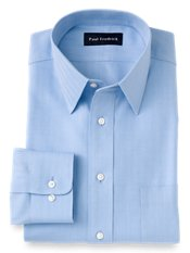 Non-Iron 2-Ply 100% Cotton Herringbone Straight Collar Trim Fit Dress Shirt