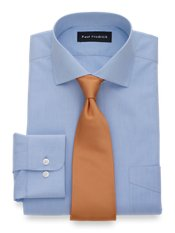 T/f Non Iron Solid Broadcloth W/ Cutaway Collar And Button Cuff