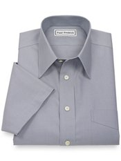 Non-Iron 2-Ply 100% Cotton Straight Collar Short Sleeve Trim Fit Dress Shirt