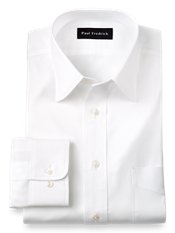 Cotton Pinpoint Oxford Varsity Spread Collar Trim Fit Dress Shirt
