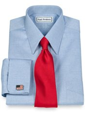 Pinpoint Oxford European Straight Collar French Cuff Trim Fit Dress Shirt