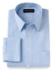 Non-Iron 100% Cotton Pinpoint Straight Collar French Cuff Trim Fit Dress Shirt