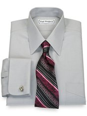 Non-Iron 2-ply 100% Cotton Broadcloth Straight Collar Trim Fit Dress Shirt