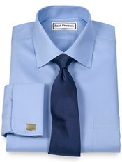 Non-Iron 2-Ply Cotton Twill Spread Collar French Cuff Trim Fit Dress Shirt