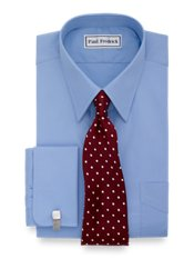 2-Ply Cotton Straight Collar French Cuff Trim Fit Dress Shirt