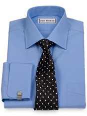 2-Ply Cotton Windsor Collar French Cuff Trim Fit Dress Shirt