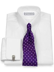 2-Ply Cotton Snap Tab Collar French Cuff Trim Fit Dress Shirt