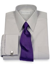 2-Ply Cotton Edge-Stitched Straight Collar French Cuff Trim Fit Dress Shirt