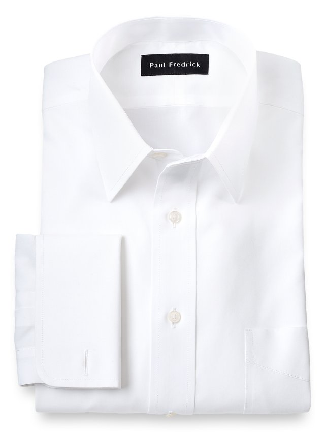 Slim fit non iron supima cotton straight collar french Straight collar dress shirt