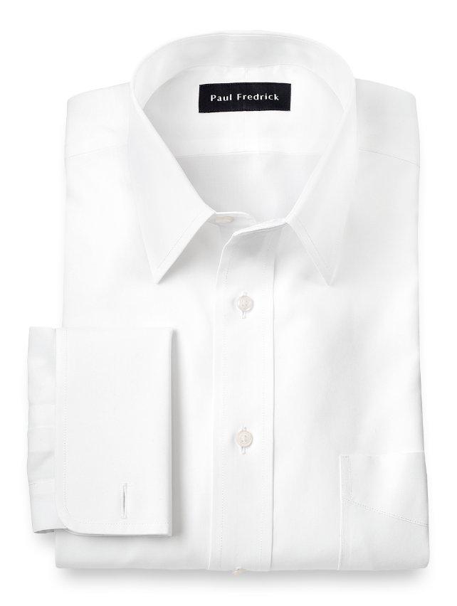 Slim fit non iron supima cotton straight collar french Straight collar dress shirt