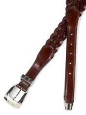 Woven Leather Belt With Metal Keeper And Tip