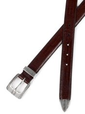 Embossed Leather Belt with Metal Keeper & Tip