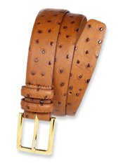 Italian Leather Embossed Ostrich Belt