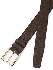 Italian Embossed Suede Belt