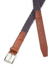 Italian Woven Leather & Wool Belt