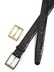 Crocodile Embossed Leather Belt