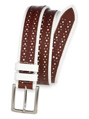 Italian Two Tone Perforated Leather Belt