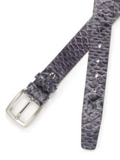 Italian Textured Snakeskin Leather Belt