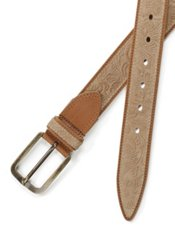 Italian Embossed Suede & Leather Belt