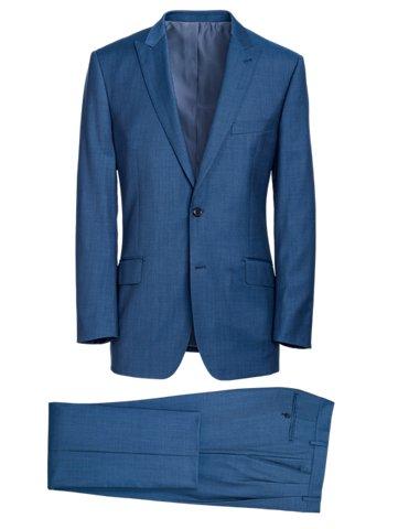 Paul Fredrick Slate Blue Premium Super 120's Sharkskin Suit