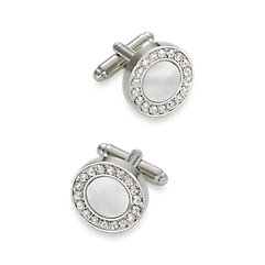1920s Mens Accessories Mother of Pearl  Crystal Round Cufflinks $80.00 AT vintagedancer.com
