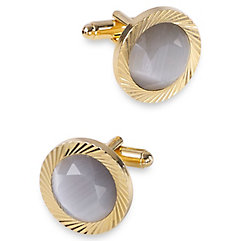 1920s Mens Evening Wear Step By Step Cats Eye Circle Cufflink $80.00 AT vintagedancer.com