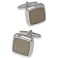 1950s Style Mens Shirts Textured Metal Square Cufflink $60.00 AT vintagedancer.com