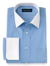 2-ply Cotton White Spread Collar French Cuff Dress Shirt