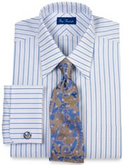Trim Fit Premium Cotton Continuous Pattern French Cuff Dress Shirt