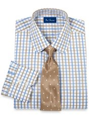 Premium Cotton Satin Grid Dress Shirt