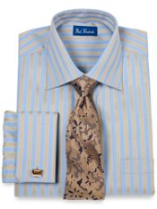Premium Cotton Raised Satin Stripe French Cuff Dress Shirt